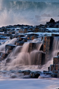 480x800 Rocks Waterfall