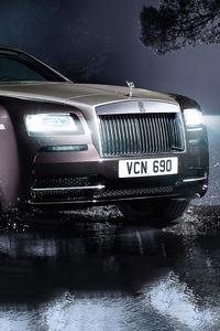 480x854 Rolls Royce Wraith In Rain 4k