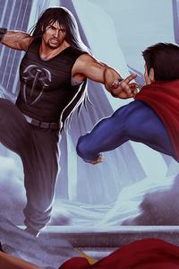 Roman Reigns Vs Superman Art
