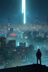 Rooftop Scifi Anonymus Hoodie Guy 4k