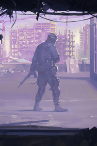 2160x3840 Rooftop Soldier