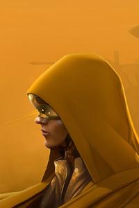 1080x2280 Sand Storm Girl In Hood 4k