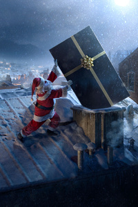 2160x3840 Santa Claus Chimne Present Delivery