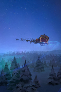 1440x2960 Santa Claus Reindeer Sleigh Flying Christmas Tree 8k
