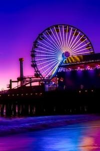 Santa Monica Ferris Wheel Colorful Golden Hour