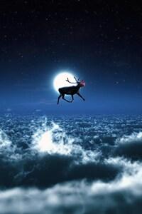 1242x2688 Santa Reindeer