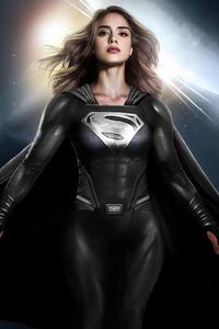 540x960 Sasha Calle Supergirl Fan Art Black Suit 4k