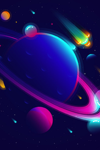 2160x3840 Saturn Planet Illustration Minimalist