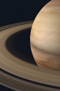 Saturn Planet Rings Dark 4k