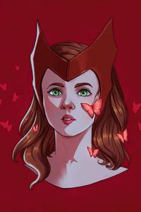750x1334 Scarlet Witch Face Portrait Minimal 4k