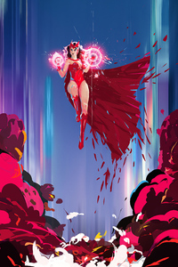 1125x2436 Scarlet Witch Power 4k Art