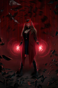 480x854 Scarlet Witch Red Powers 4k