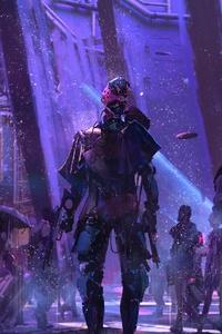 Sci Fi Cyberpunk Neon Robot