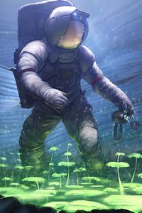 Scifi Astronaut Planting Trees Underwater