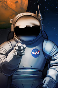 1125x2436 Scifi Astronaut Space Man