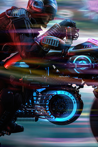 360x640 Scifi Biker From Scifi City 5k
