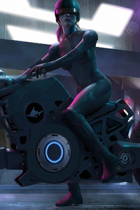 1440x2960 Scifi Biker Girl 4k
