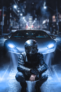 240x320 Scifi Biker Lamborghini 4k