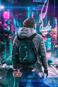 1080x2160 Scifi Boy Winter Hat 4k