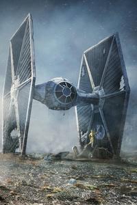 Scifi C 3PO R2 D2 Star Wars TIE Fighter