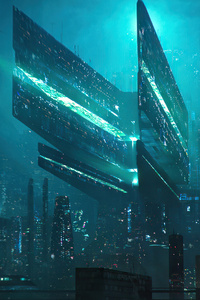 1080x2280 Scifi City Concept 5k