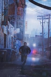 1080x2280 Scifi Cyberpunk Running Man
