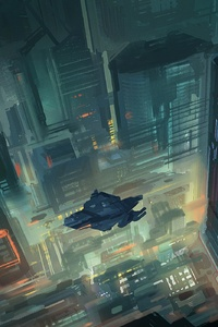 Scifi Future City Top View Vehicles Art