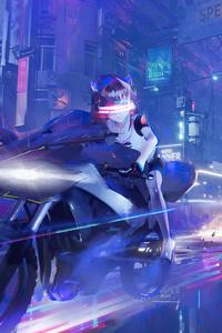 240x400 Scifi Girl Bike Cyberpunk 4k