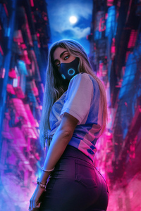 Scifi Girl Glowing Mask Neon Night 4k