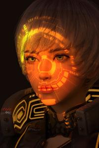 1440x2960 Scifi Girl Hologram Mask 5k