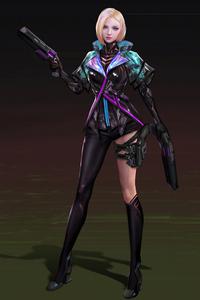 1242x2688 Scifi Girl Suit With Gun 4k