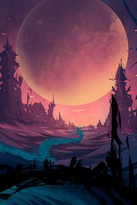 Scifi Planet Big Moon