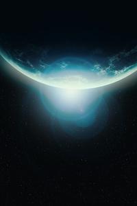 Scifi Planet Lens Flare Stars 4k