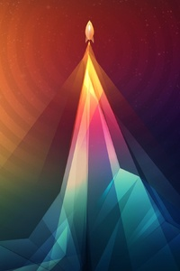 2160x3840 Scifi Rocket Colorful Minimalism