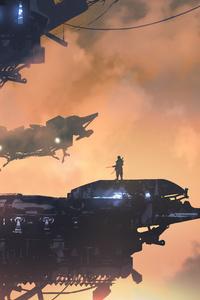 Scifi Space Warrior Digital Art Futurist