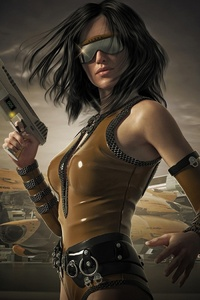 1280x2120 Scifi Sunglasses Woman Warrior With Guns
