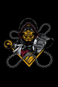 1242x2688 Scorpion Sub Zero Mortal Kombat Minimal