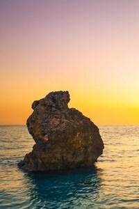 2160x3840 Sea Boulders Sky Sunrise