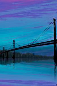 Sea Bridge Digital Art 4k