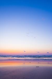 Sea Coast Sunset Horizon Waves