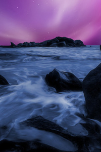 240x320 Sea Durning Night Time Rocks Artwork