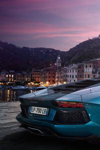 Sea Green Lamborghini Aventador 4k