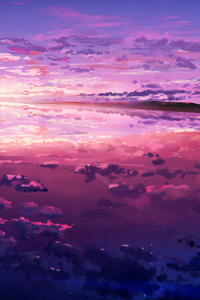 1280x2120 Sea Sky Clouds Illustration 4k