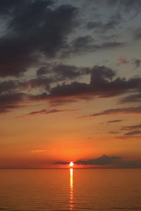 Sea Sky Clouds Nature Sunset 4k
