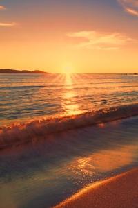 Sea Sunset Beach Sunlight Long Exposure 4k