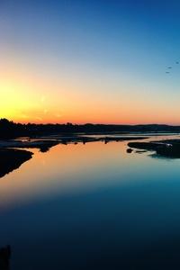 Sea Sunset Shore Birds 4k