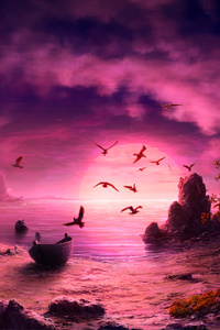 Seagull Birds Boat Landscape Purple Sunset