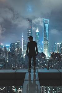 Shanghai Skyscraper Cityscape Man Skyscraper