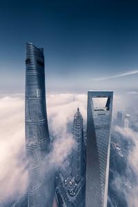 Shanghai Skyscraper Fog Clouds