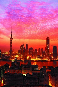 320x480 Shanghai Sunset Building